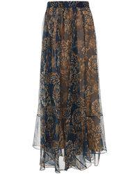 Brunello Cucinelli Asymmetric Pleated Printed Silk Maxi Skirt Navy - Blue