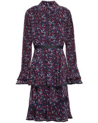 Mikael Aghal Tiered Floral-print Crepe De Chine Dress Navy - Blue