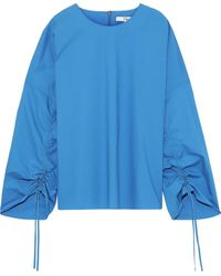 Tibi Ruched Cotton-poplin Top - Blue