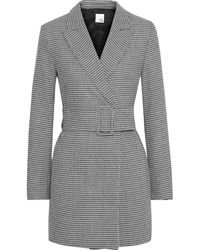 Iris & Ink Ryden Belted Double-breasted Houndstooth Woven Blazer - Black