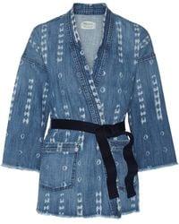 Current/Elliott The Kimono Printed Stretch-denim Jacket - Blue