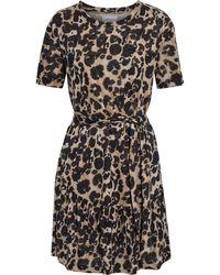 Current/Elliott The Crystal Belted Leopard-print Linen-jersey Mini Dress Animal Print - Black