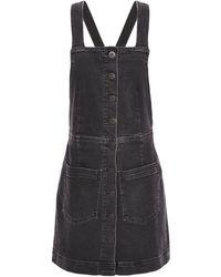 3x1 Button-detailed Denim Mini Dress Black