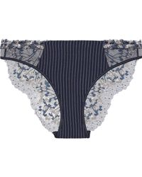 La Perla - Embroidered Tulle And Stretch-silk Low-rise Briefs - Lyst