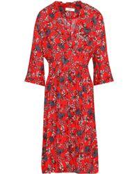 Ba&sh Metallic Printed Georgette Dress Red