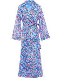 YOLKE Printed Cotton Robe Light Blue