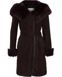 SOIA & KYO Shearling Hooded Coat Dark Brown