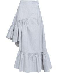 Marques'Almeida - Woman Ruffled Mélange Cotton-blend Poplin Skirt Light Gray - Lyst