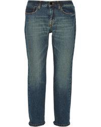 Victoria Beckham Slouch Cropped Mid-rise Boyfriend Jeans - Blue