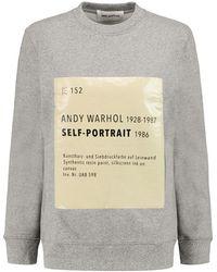 Self-Portrait - - Signature Printed Cotton-blend Sweatshirt - Grey - Lyst