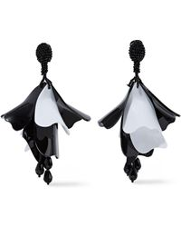Oscar de la Renta - Gunmetal-tone, Bead And Coated Resin Clip Earrings - Lyst