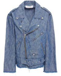 Marques'Almeida Oversized Frayed Denim Biker Jacket Mid Denim - Blue