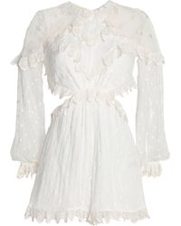 Zimmermann Divinity Embroidered Silk-georgette Playsuit Ivory - White