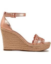 d2aa69db6ede MICHAEL Michael Kors - Woman Ruffled Metallic Leather Espadrille Wedge  Sandals Rose Gold - Lyst