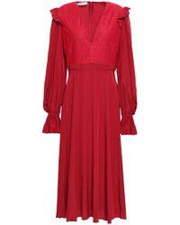 Philosophy Di Lorenzo Serafini - Lace-paneled Crepe De Chine Midi Dress Claret - Lyst