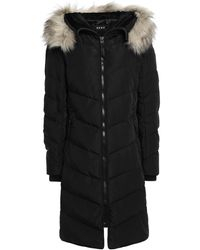 DKNY Faux Fur-trimmed Quilted Shell Down Coat Black