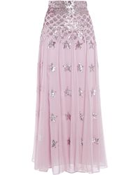 Temperley London Sequin-embellished Point D'esprit Maxi Skirt Lilac - Purple