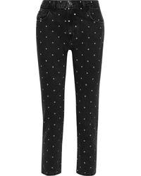 Current/Elliott The Vintage Cropped Polka-dot High-rise Straight-leg Jeans - Black