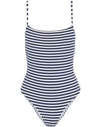 Solid & Striped The Chelsea Striped Ribbed Swimsuit Navy - Blue