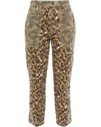 Current/Elliott The Clean Weslan Printed Cotton-twill Slim-leg Trousers Animal Print - Multicolour