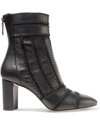 Alexandre Birman Beatrice Whipstitched Textured-leather Ankle Boots Black