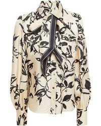 Zimmermann Pussy-bow Printed Silk-twill Blouse - Natural