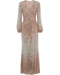 Badgley Mischka Wrap-effect Dégradé Sequined Mesh Gown Rose Gold - Metallic