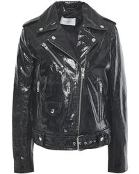 STAND Polly Cracked Patent-leather Biker Jacket Black