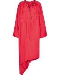 Christopher Kane Asymmetric Crystal-embellished Crepe De Chine Midi Dress Tomato Red