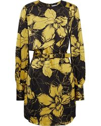 Rebecca Vallance - Roswell Belted Floral-print Satin Mini Dress - Lyst