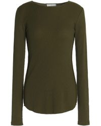 Vince - Woman Pima Cotton Top Army Green Size M - Lyst