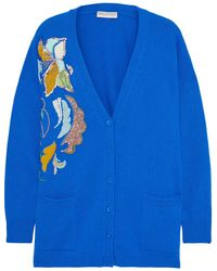 Emilio Pucci Embellished Cashmere Cardigan Royal Blue