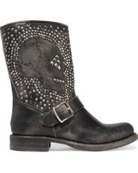 Frye - Jenna Studded Distressed Leather Biker Boots - Lyst