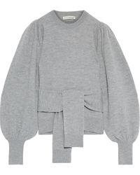 Ulla Johnson Rubi Tie-front Merino Wool Sweater - Gray