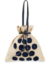 Paul Smith Pompom-trimmed Linen-canvas Tote - Blue