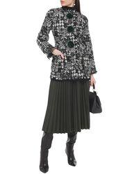 Dolce & Gabbana Embellished Faux Fur-trimmed Bouclé-tweed Coat - Black