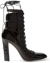 Paula Cademartori - Warrior Cutout Lace-up Patent-leather Boots - Lyst