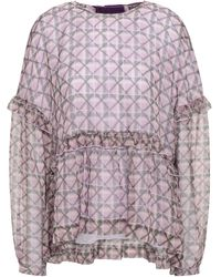ALEXACHUNG Bow-detailed Velvet-trimmed Printed Georgette Top Lilac - Purple
