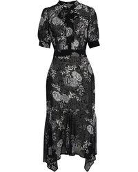 Walter Baker Maria Asymmetric Pussy-bow Printed Georgette Dress - Black
