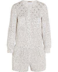 Nina Ricci - - Printed Silk-crepe Playsuit - White - Lyst