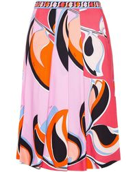 Emilio Pucci Pleated Printed Crepe Skirt - Red