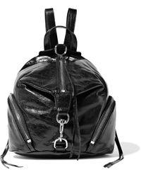 Rebecca Minkoff Julian Convertible Cracked Glossed-leather Backpack Black