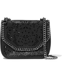 Stella McCartney - Woman Laser-cut Faux Leather Shoulder Bag Black Size -- - Lyst