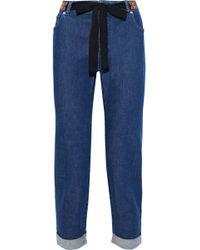 Altuzarra - Tie-front Cropped Mid-rise Slim-leg Jeans Mid Denim - Lyst