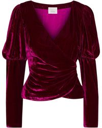 Cinq À Sept Theo Gathered Crushed-velvet Wrap Top - Purple