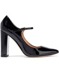 Halston Sally Patent-leather Mary Jane Pumps Black