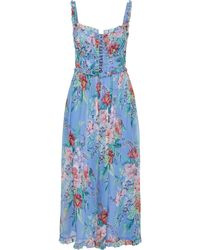 Zimmermann Bellitude Corset Floral-print Silk-crepon Wide-leg Jumpsuit Light Blue