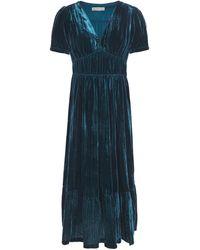 MICHAEL Michael Kors Gathered Crushed-velvet Midi Dress - Blau