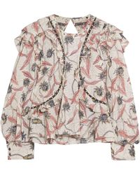 Isabel Marant - Uster Studded Lace-trimmed Printed Cotton Blouse - Lyst