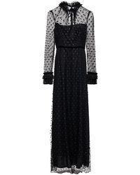 Goat Giovanna Ruffle And Velvet-trimmed Glittered Tulle Maxi Dress - Black